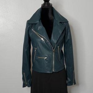 Vici Vegan Leather Moto Jacket zippers teal blue